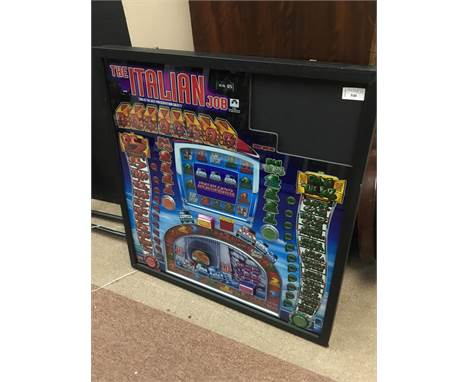ITALIAN JOB LARGE FRUIT MACHINE POP ART, UP-CYCLED VINTAGE FRUIT MACHINE GLASS, from upper section of machine, back lit and b