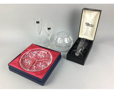 BOXED WATERFORD CRYSTAL VASE/SUNDAE GLASS, along with a collection of loose and cased crystal and glass ware including Royal
