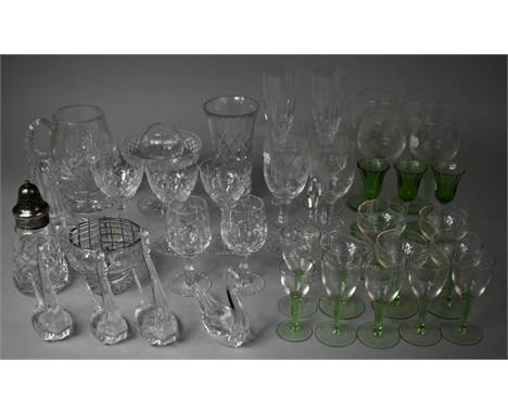 A Collection of Various Glasswares to Include Vases, Sweetmeat Dish, Noggin, Sugar Sifter, Heavy Cut Glass Tankard, Wines, Li