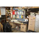 STEEL OFFICE DESK WITH (3) FILE CABINETS (NO CONTENTS)