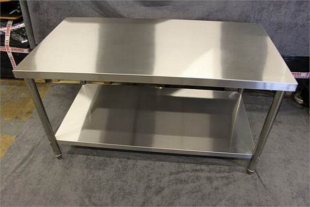 Lot 65 - Brand New stainless steel heavy duty preparation table 1500 x 800 x 800 50mm thick top grade 304 all