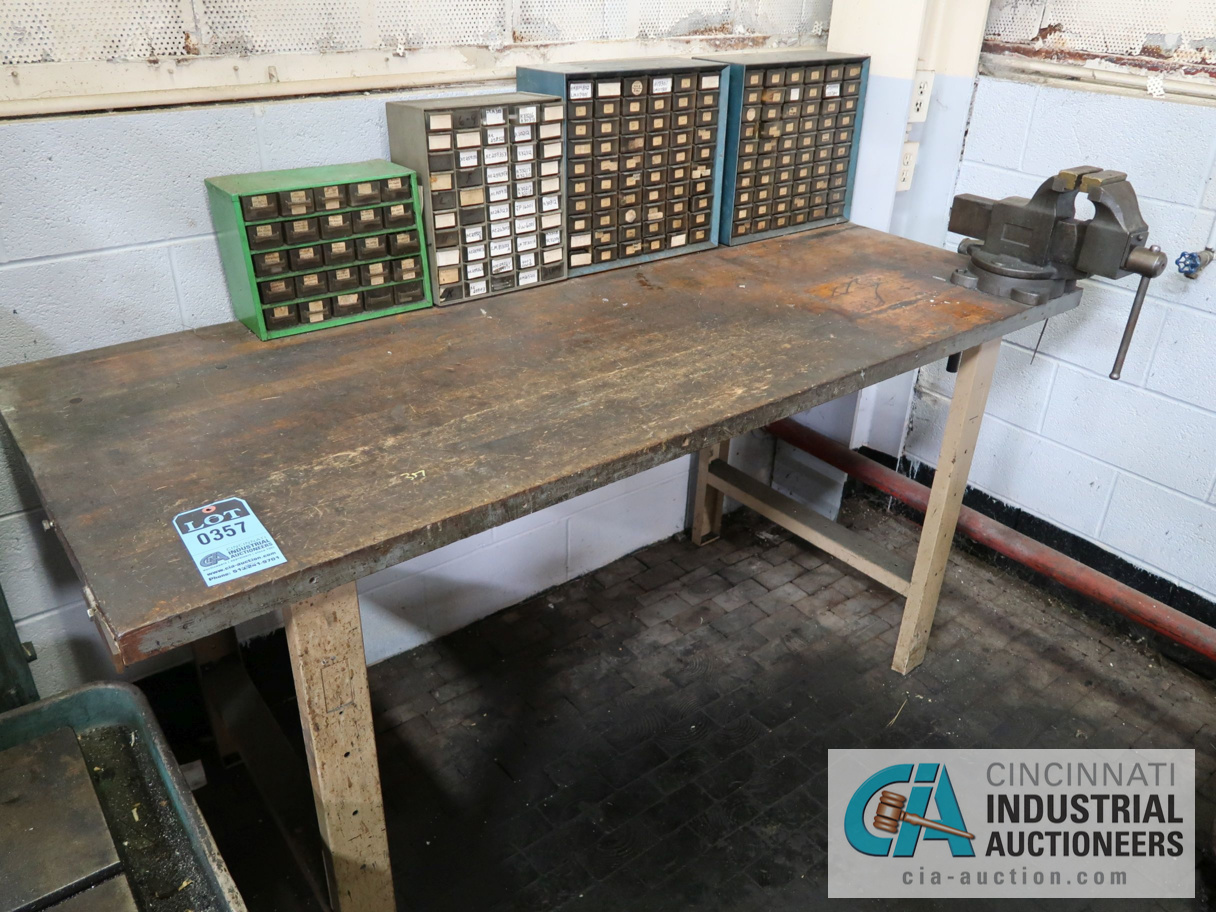 """Lot 357 - 72"""" X 30"""" WOOD BENCH WITH 4"""" VISE"""