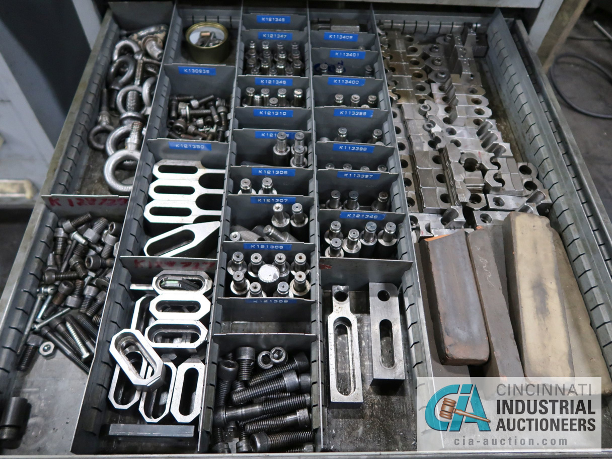 Lot 196 - 11-DRAWER TOOLING CABINET WITH CONTENTS - HARDWARE AND TOOLING, WILTON VISE