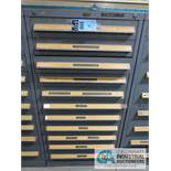 11-DRAWER VIDMAR CABINET WITH PIPE FITTINGS, BELTS, GAGES