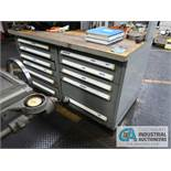 """60"""" X 30"""" 11-DRAWER VIDMAR BENCH WITH GRINDING FIXTURES & TOOLING & 4"""" BENCH VISE"""