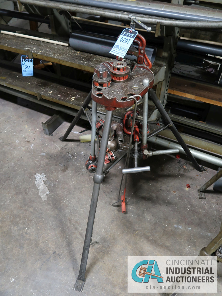 Lot 297 - RIDGID TRI-STAND WITH MANUAL PIPE THREADER & DIES