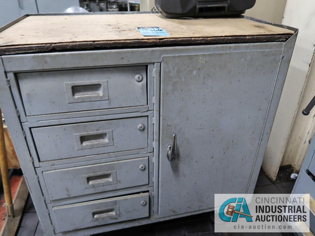 """Lot 366 - 60"""" X 30"""" 12-DRAWER VIDMAR BENCH WITH CONTENTS, GRINDING FIXTURES, TOOLING & 4"""" BENCH VISE"""