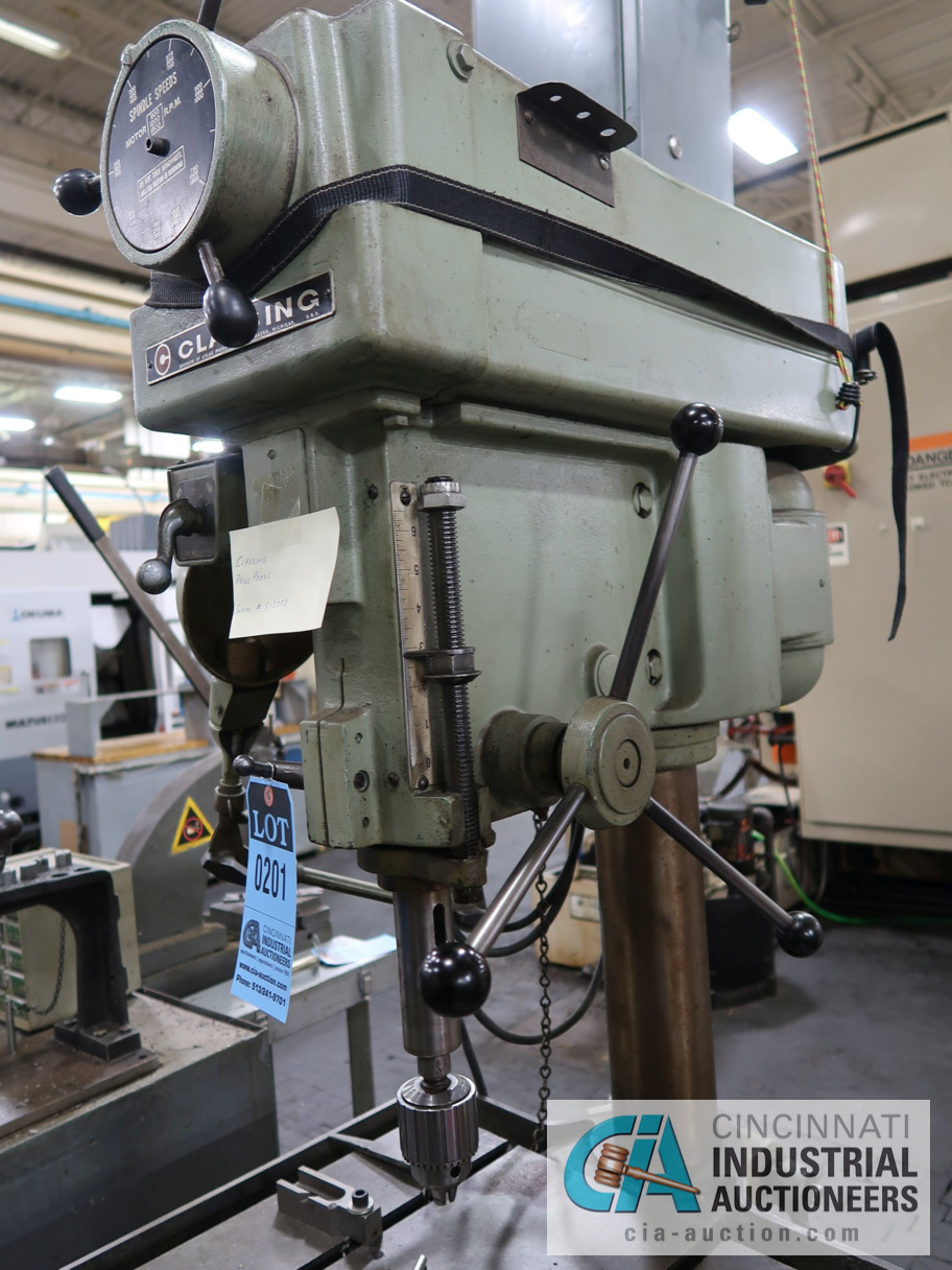 """Lot 201 - 20"""" CLAUSING VARIABLE SPEED FLOOR DRILL, 15-1/2"""" X 18"""" TABLE"""