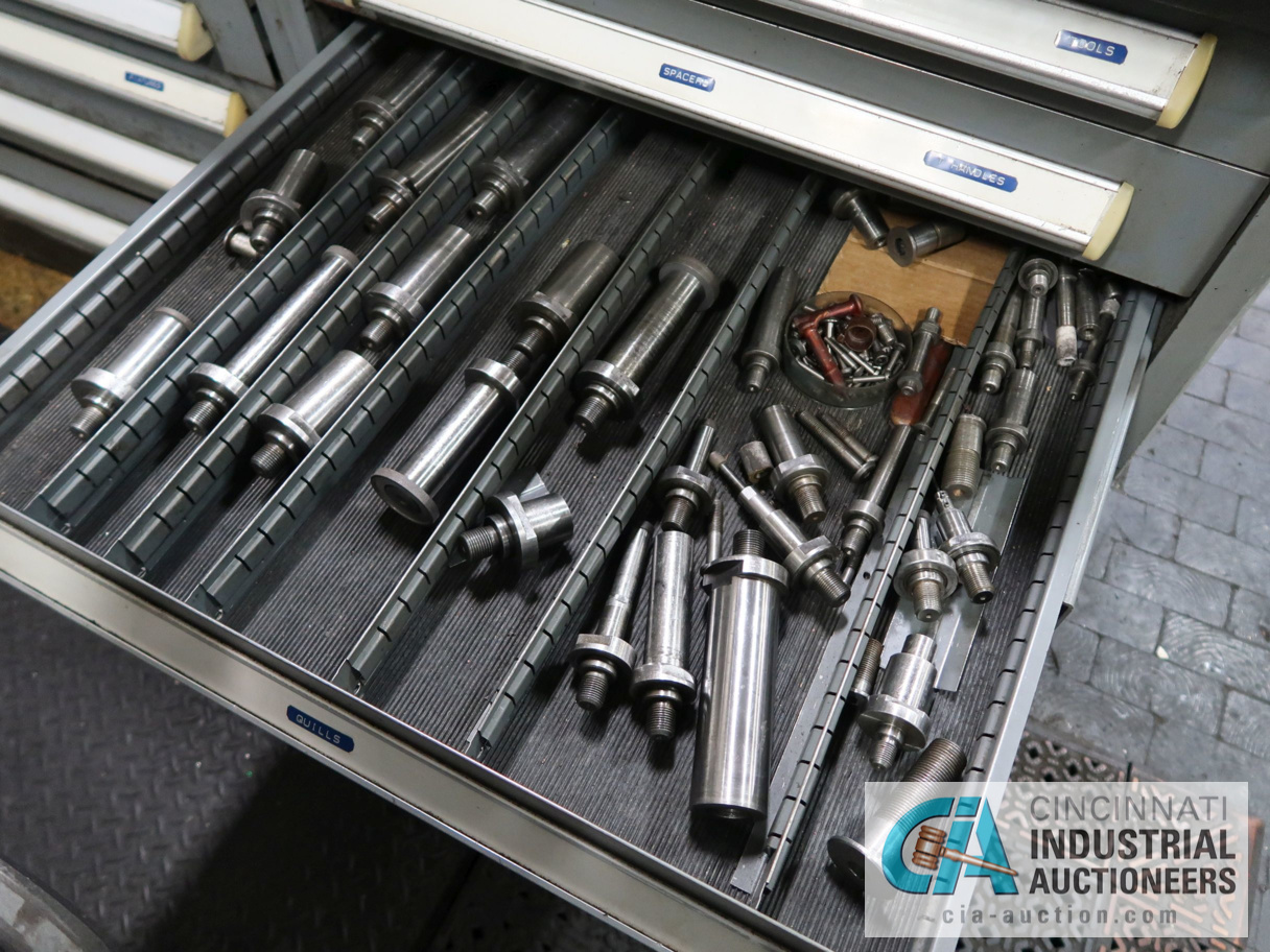 """Lot 362 - 60"""" X 30"""" 11-DRAWER VIDMAR BENCH WITH GRINDING FIXTURES & TOOLING & 4"""" BENCH VISE"""