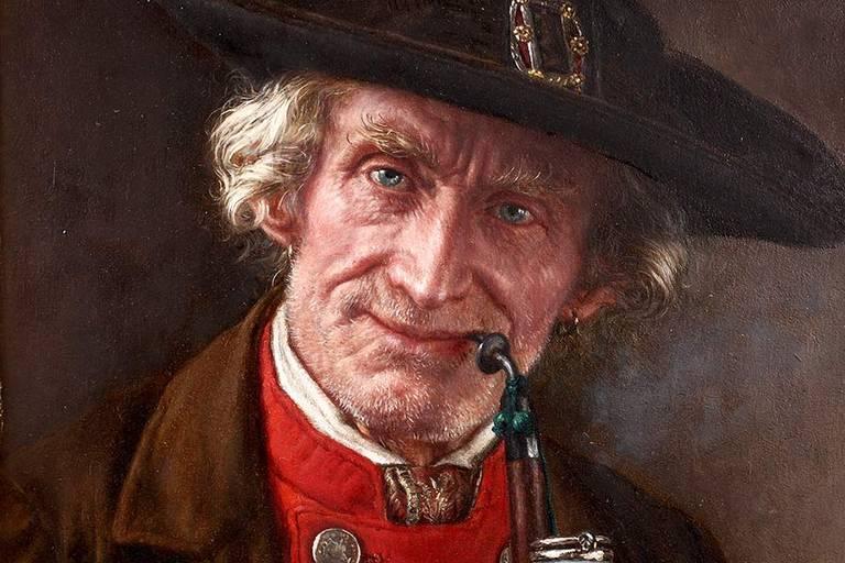 Lot 3193 - Ernst Schmitz, Bauernpaar alter Bauer in Tracht mit breitkrempigem Hut und rotem Wams,