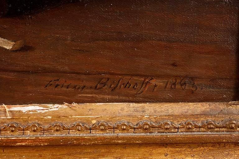 """Auktionslos 3175 - Friedrich Bischoff, """"Der fleißige Knabe"""" poesievolle Küchenszene, betagte Großmutter am Tisch, mit"""