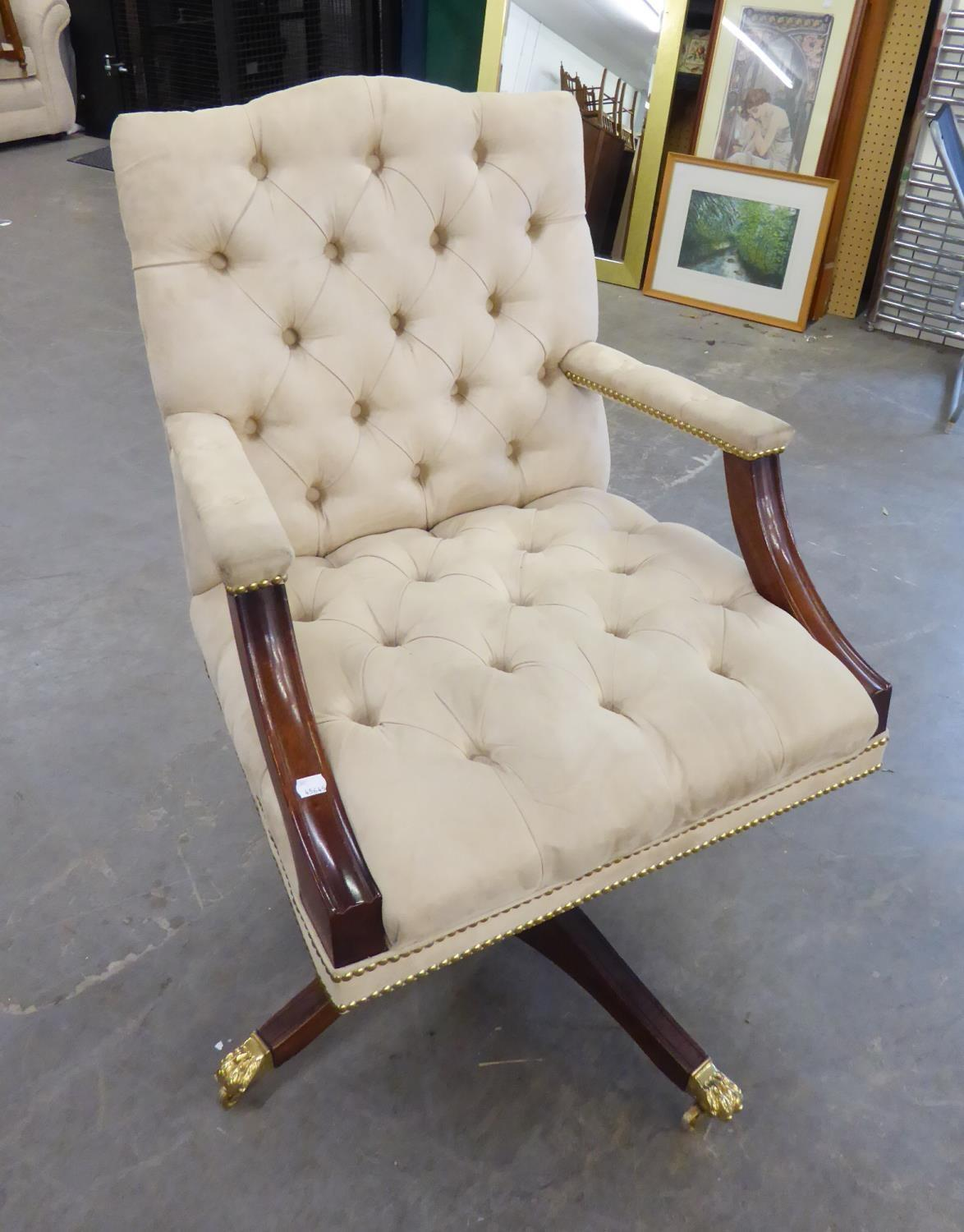 *BEVAN FUNNELL GEORGE III STYLE MAHOGANY REVOLVING AND TILTING DESK ARMCHAIR, THE YOKE TOPPED BUTTON