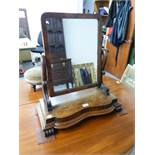 AN ANTIQUE TABLE TOP DRESSING TABLE MIRROR WITH SMALL DRAWER BELOW