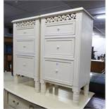 A PAIR OF THREE DRAWER BEDSIDE CHESTS (2)
