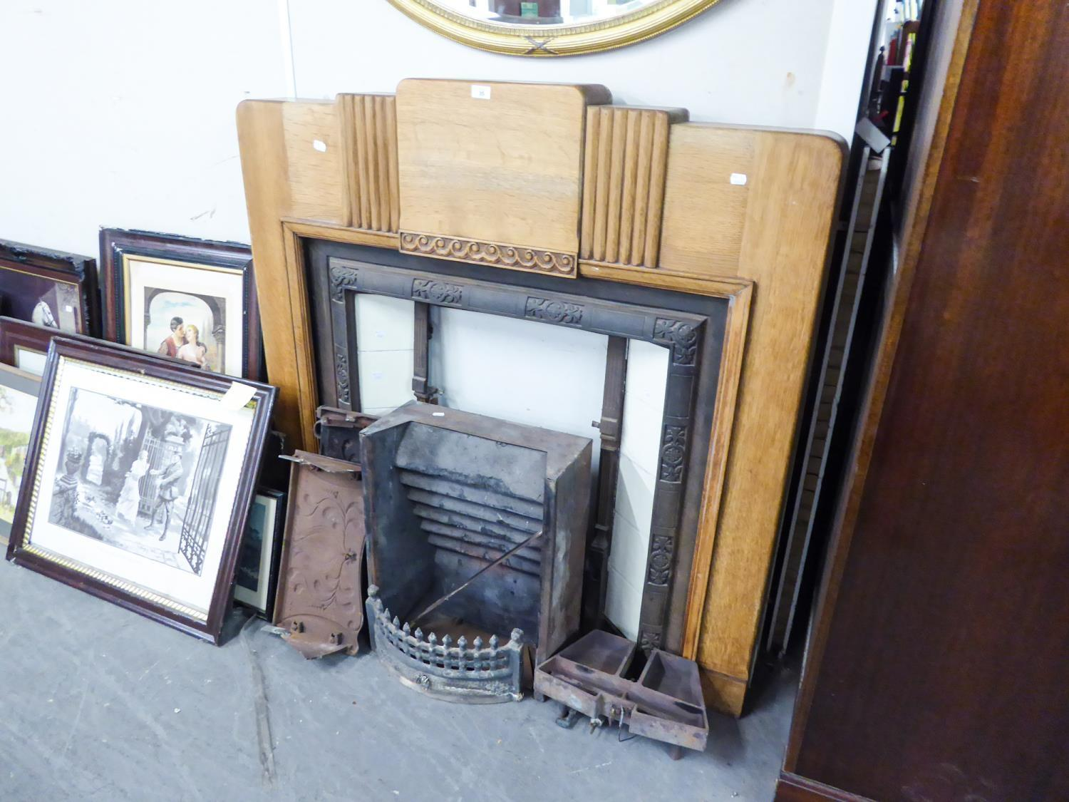 ANTIQUE FIREPLACE WITH ART DECO OAK SURROUND AND CAST INSET WITH TILES