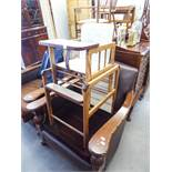CHILD'S METAMORPHIC HIGH CHAIR IN TWO PARTS IN THE FORM OF THE CHAIR ON A STAND OR A CHAIR WITH A
