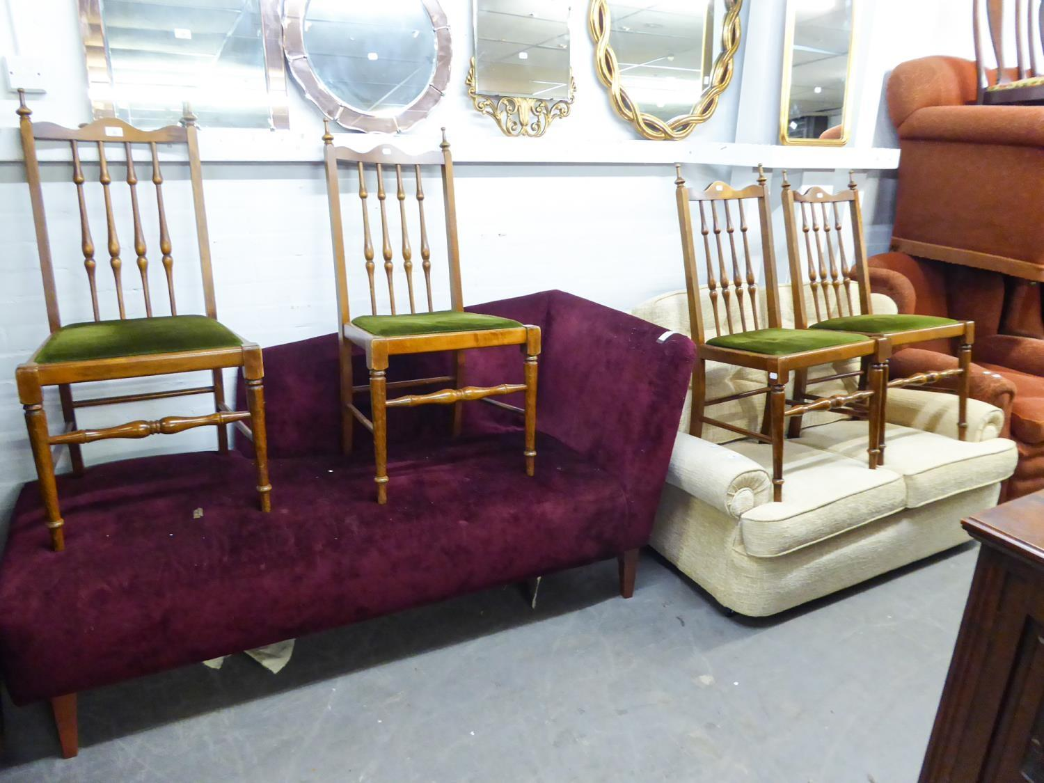 SET OF FOUR HARDWOOD SINGLE CHAIRS EACH WITH TALL SPINDLE BACKS AND DROP-IN SEATS IN GREEN PLUSH