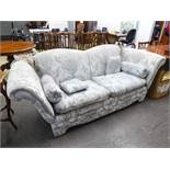 DERWENT KNOLL SETTEE COVERED IN GREY FOLIATE SCROLL DAMASK