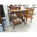 EDWARDIAN WALNUTWOOD TWO TIER OCCASIONAL TABLE, SOLID TOP WITH CHAMFERRED CORNERS, THE UNDERTIER