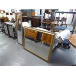 """A LARGE GILT FRAMED BEVELLED EDGE WALL MIRROR (45"""" X 35"""") AND A TALL NARROW ROBING MIRROR (53"""" X"""