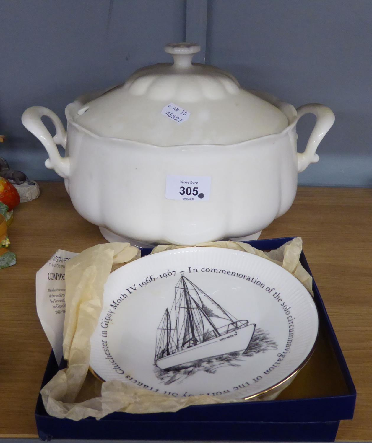 Lot 315 - A LARGE WHITE CHINESE TWO HANDLED SOUP TUREEN AND COVER AND A COMMEMORATIVE PLATE, BOXED (2)