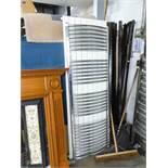PAIR OF RADIATORS - ONE WHITE, FLAT RADIATOR (60cm x 180cm) AND A CHROME TOWEL RAIL (170cm x