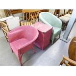 TWO LLOYD LOOM BEDROOM CHAIRS AND A LLOYD LOOM RECEIVER WITH GLASS TOP (3)