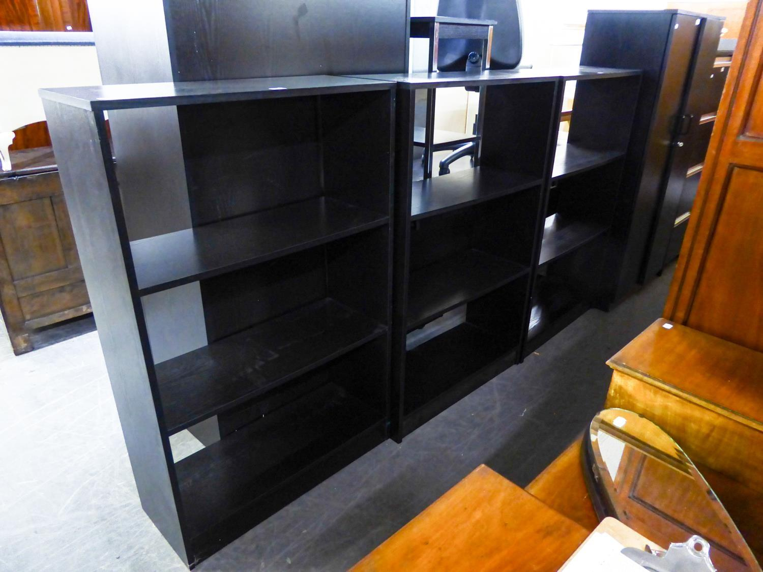 THREE BLACK ASH FOUR-TIER OPEN BOOKCASES