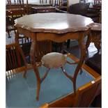 "EDWARDIAN WALNUTWOOD SHAPED CIRCULAR CENTRE TABLE, ON SIX CABRIOLE LEGS WITH UNDER PLATFORM, 2'6"""