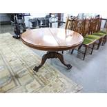 VICTORIAN MAHOGANY CIRCULAR TILT-TOP DINING TABLE, ON CARVED TRIPOD BASE