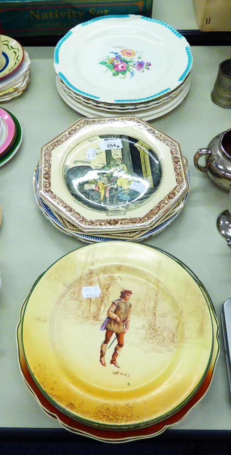 Lot 317 - A SELECTION OF RACK PLATES TO INCLUDE; EXAMPLES OF ROYAL DOULTON, COPELAND, WEDGWOOD, RIDGWAYS,