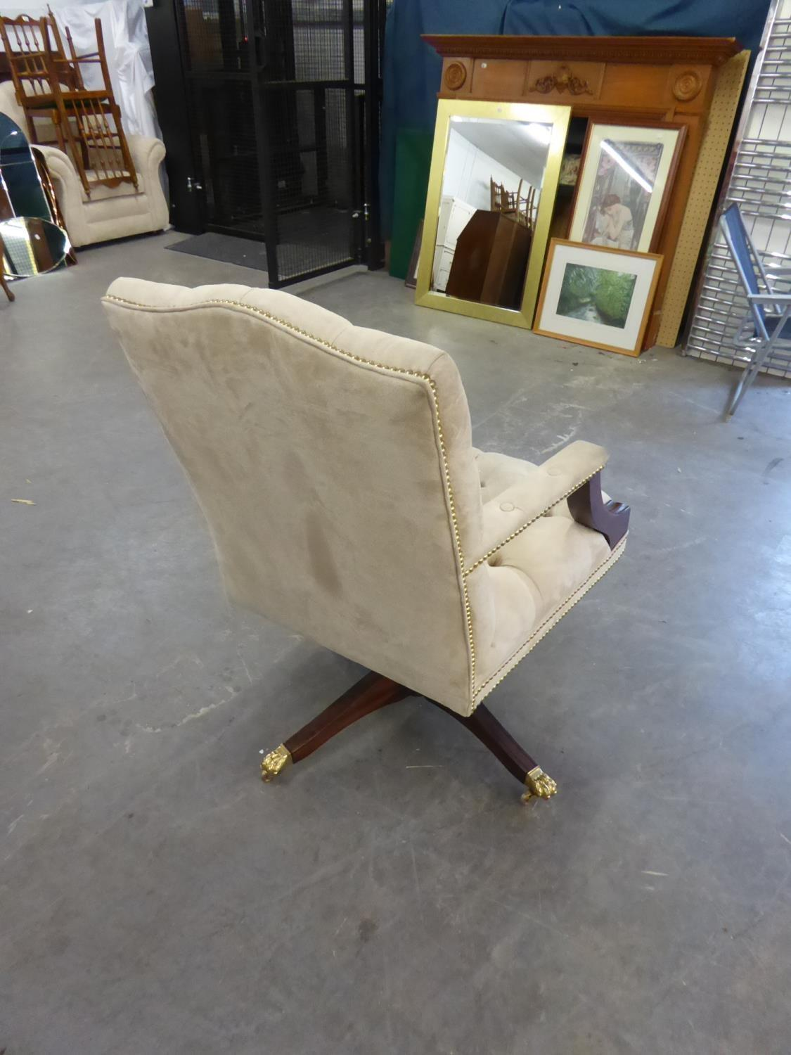 *BEVAN FUNNELL GEORGE III STYLE MAHOGANY REVOLVING AND TILTING DESK ARMCHAIR, THE YOKE TOPPED BUTTON - Image 2 of 2