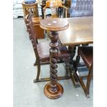 A MAHOGANY PLANT STAND, ON SPIRAL COLUMN