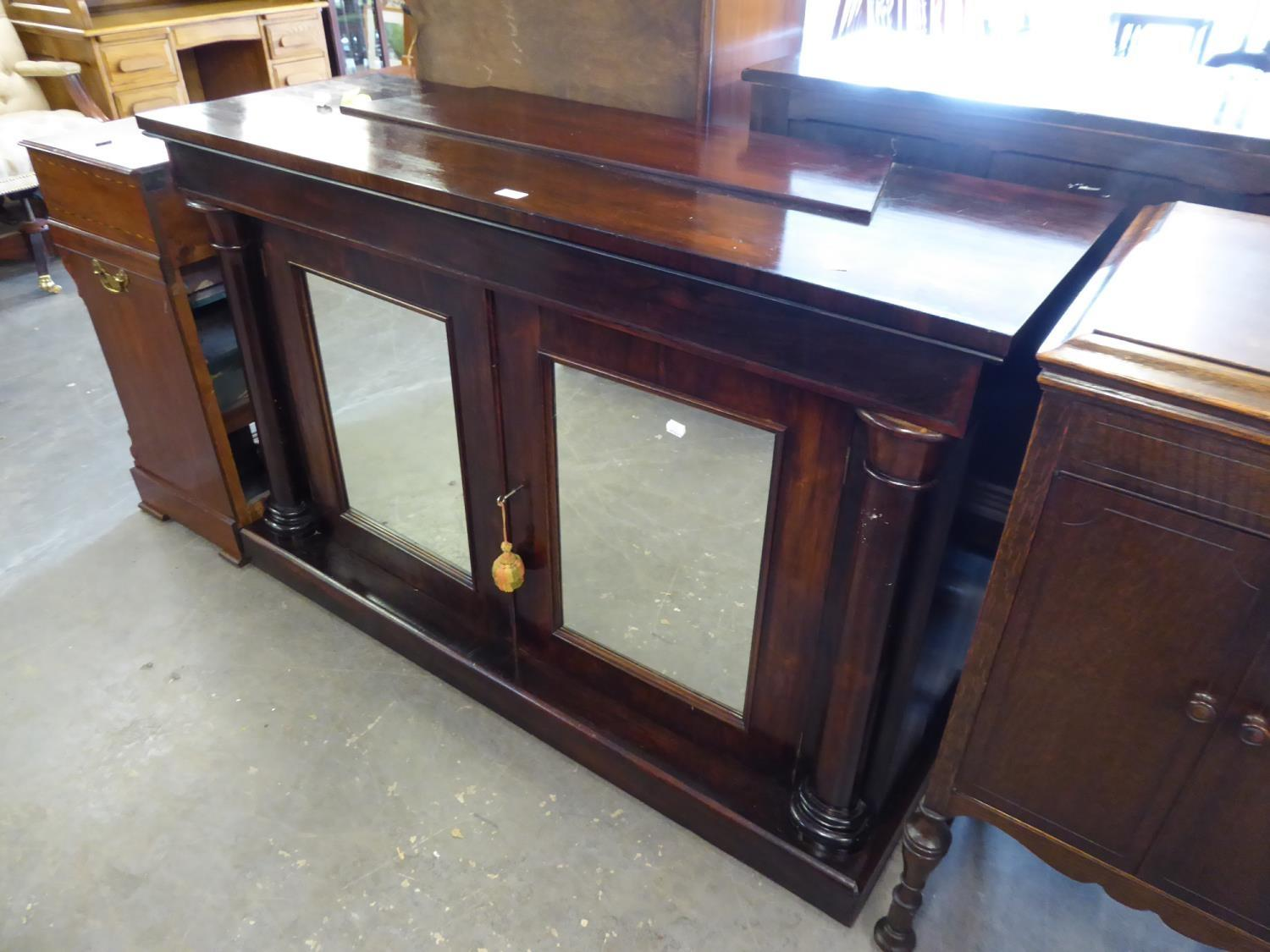 A VICTORIAN SIDEBOARD, WITH MIRRORED TWO DOOR CUPBOARD HAVING INSET COLUMN PILASTERS TO EITHER