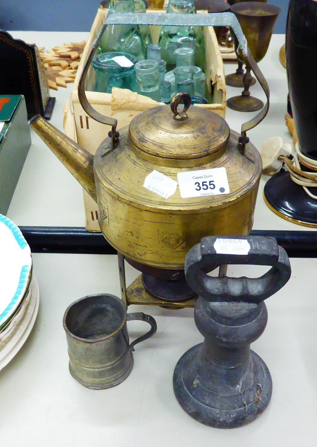 Lot 318 - SESSESSIONIST BRASS TEA KETTLE ON SPIRIT BURNER STAND, A LARGE BELL WEIGHT AND PEWTER MEASURE