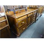 VICTORIAN MAHOGANY SIDEBOARD WITH LEDGE BACK, THREE PIANO FRONTED FRIEZE DRAWERS SANS HANDLES,