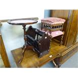 AN OAK STOOL WITH BARLEY TWIST LEGS AND UPHOLSTERED SEAT, A SMALLER OAK STOOL WITH UPHOLSTERED SEAT,