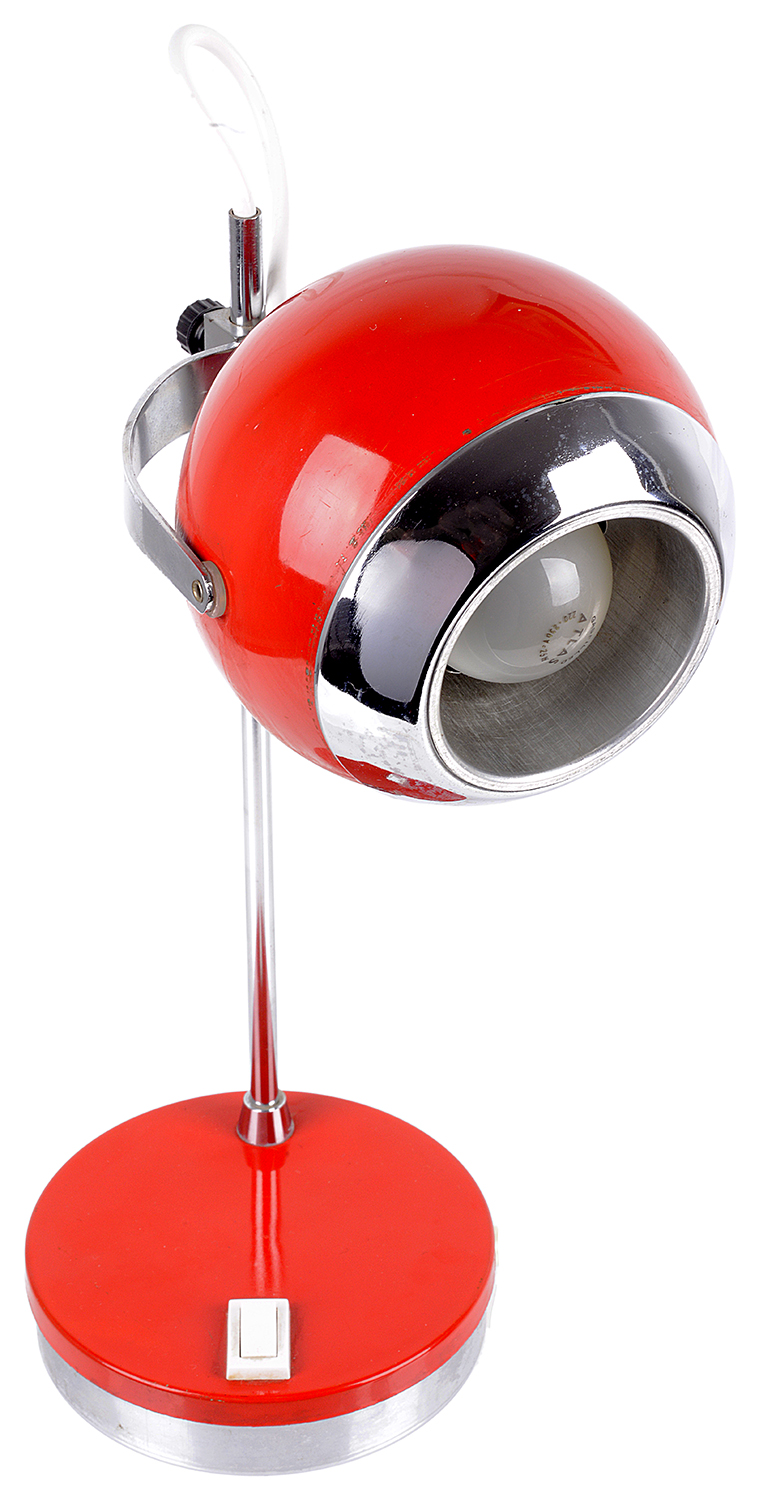 Lot 6 - A retro 1970s red and chrome desk lamp