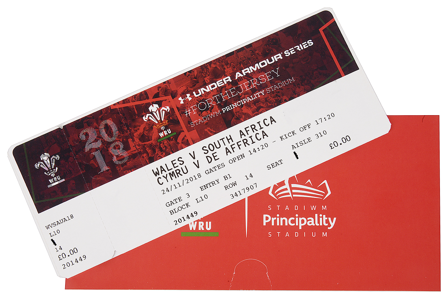 Lot 62 - **Wales vs. South Africa Rugby Game With Richard Madley