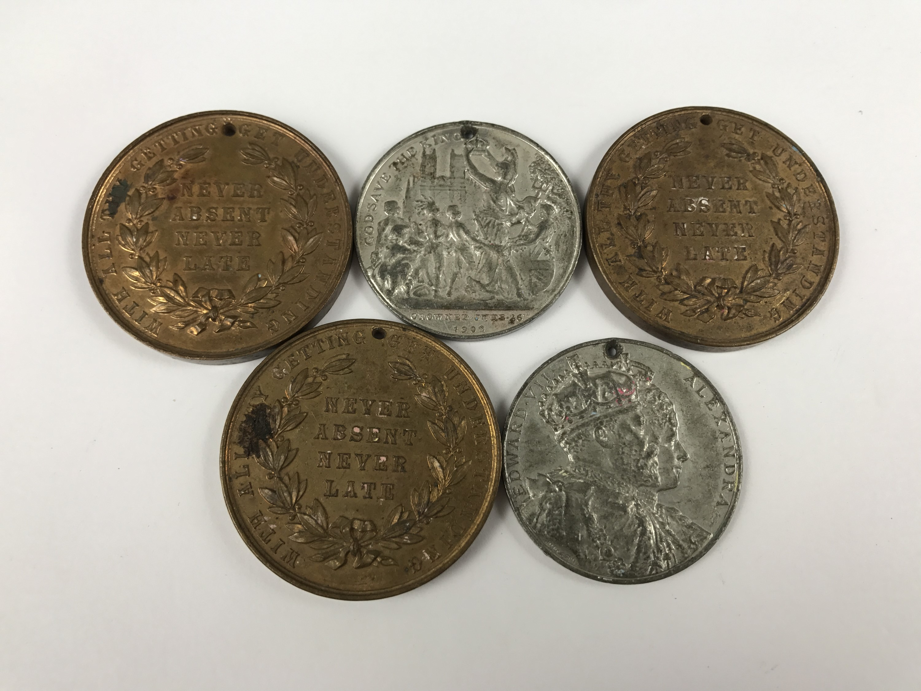 Lot 53 - Two 1902 coronation medallions and three late Victorian / Edwardian Cumberland Voluntary Schools