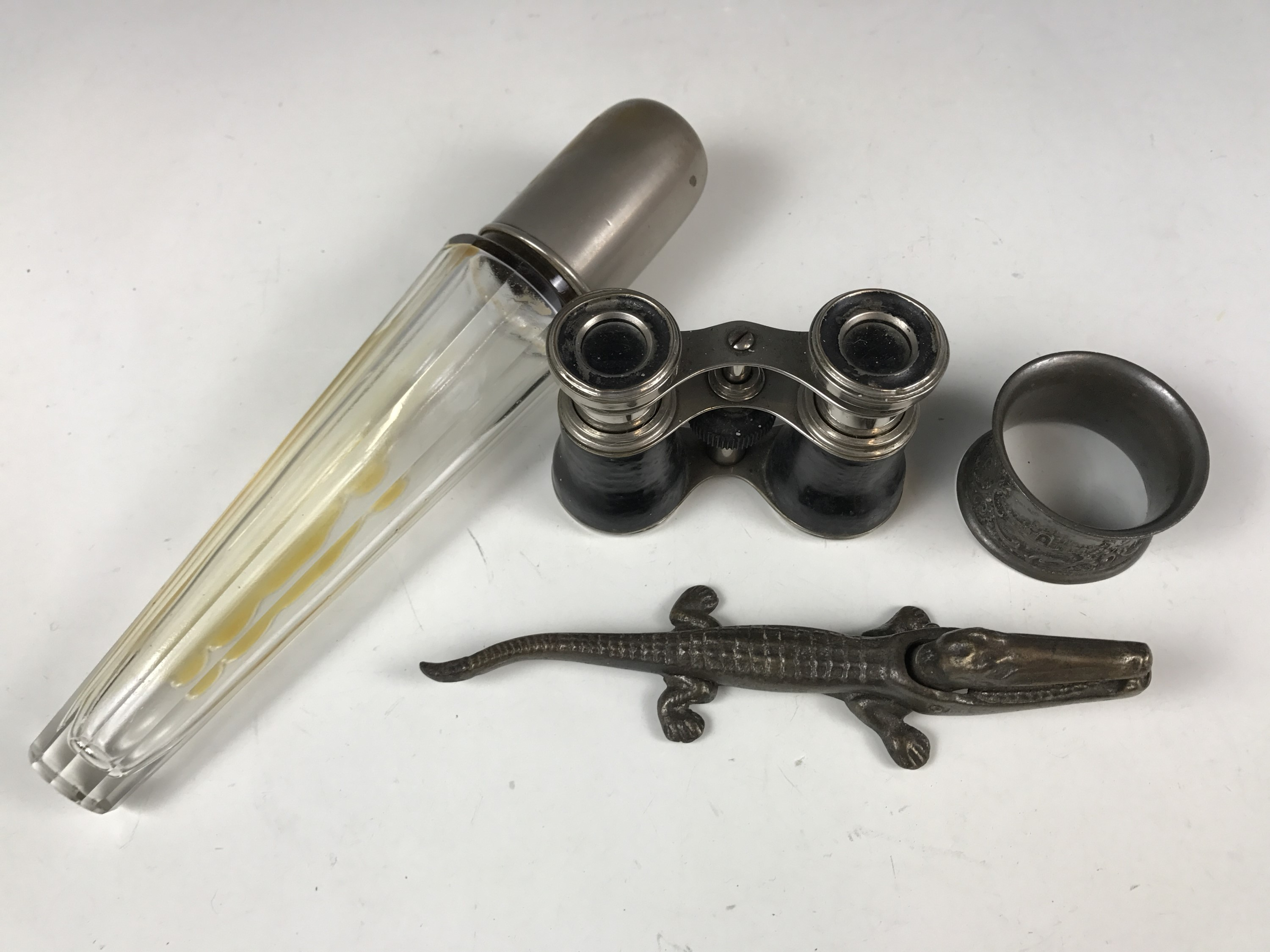 Lot 51 - A Paris exhibition pewter napkin ring together with opera glasses etc