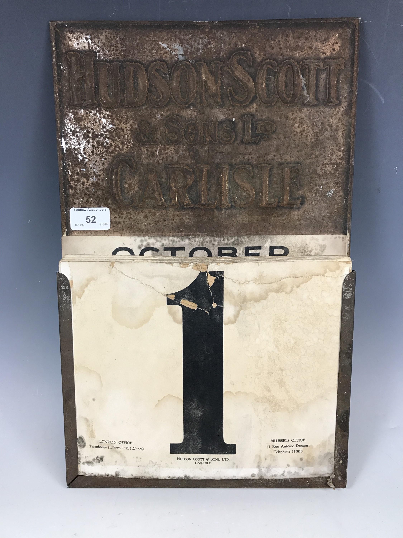 Lot 52 - An early 20th Century Hudson Scott tinplate perpetual wall calendar
