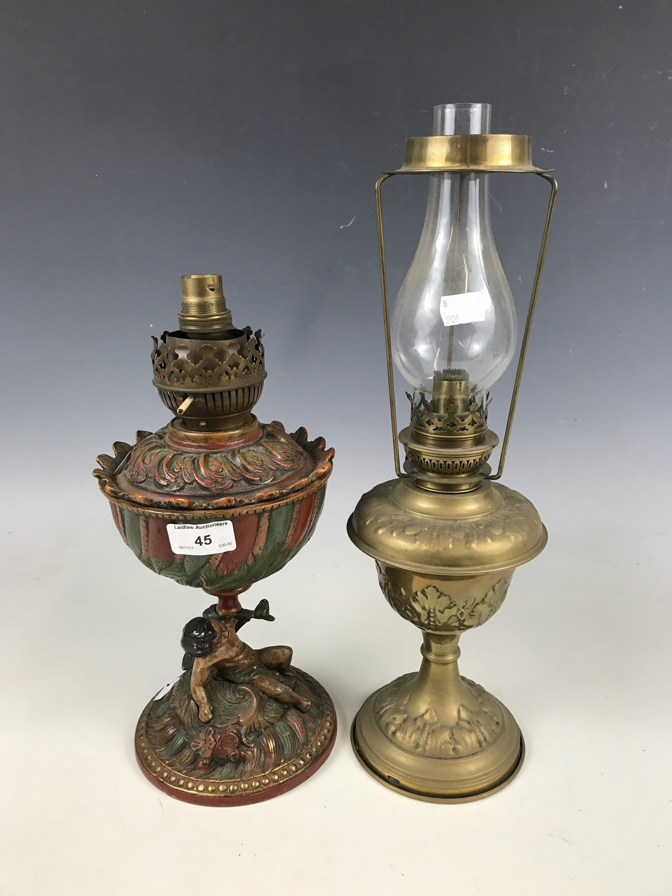 Lot 45 - Two oil lamps