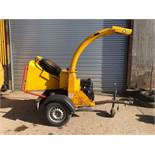 NTECH / TIMBERWOLF TOWABLE SINGLE AXLE WOOD CHIPPER, RUNS, CHIPS AND STRESS CONTROL, WORKING ORDER