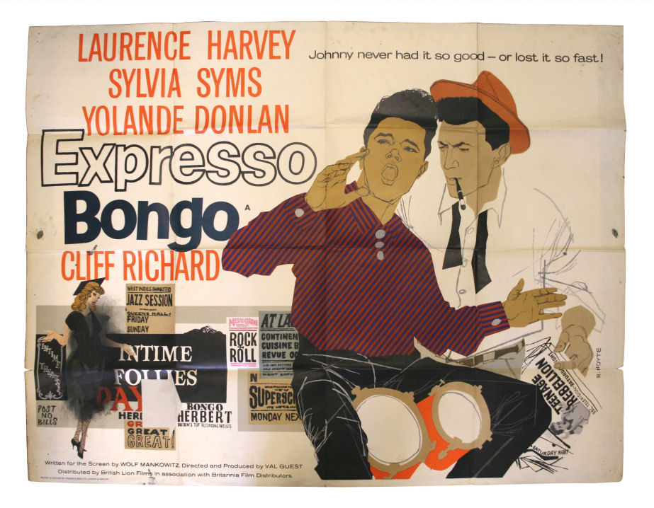 an original uk promotional quad poster for the 1959 film expresso bongo featuring cliff richard