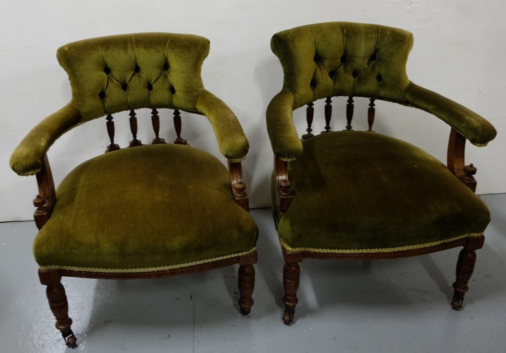 Lot 21 - Matching Pair of Edw. Low Sized Occasional Armchairs, green fabric covers
