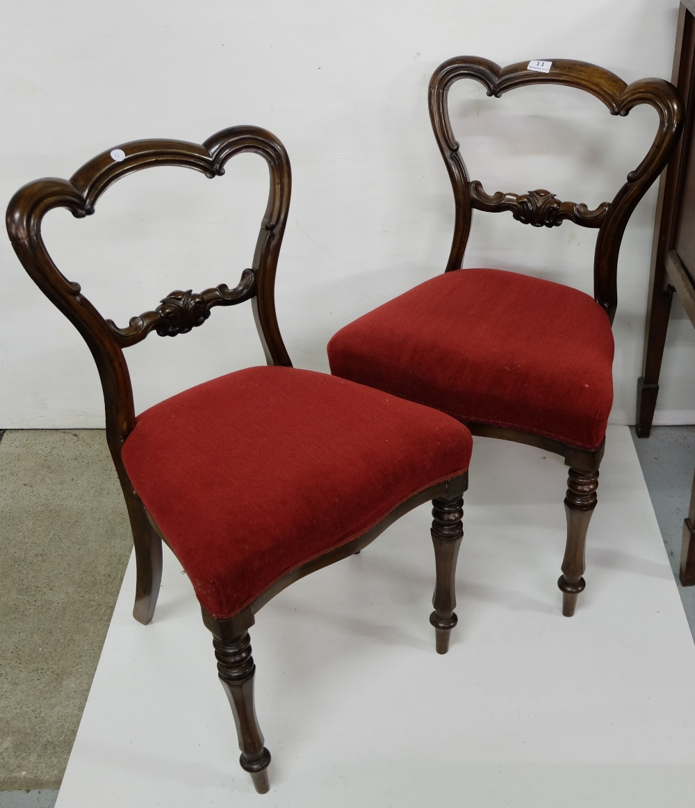 Lot 11 - Matching Pair of WMIV Mahogany Framed Bedroom/Dining Chairs, red fabric covered seats