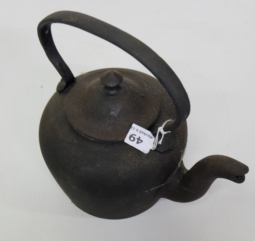 "Lot 49 - Victorian Cast Iron Kettle, painted black, 11"" high"