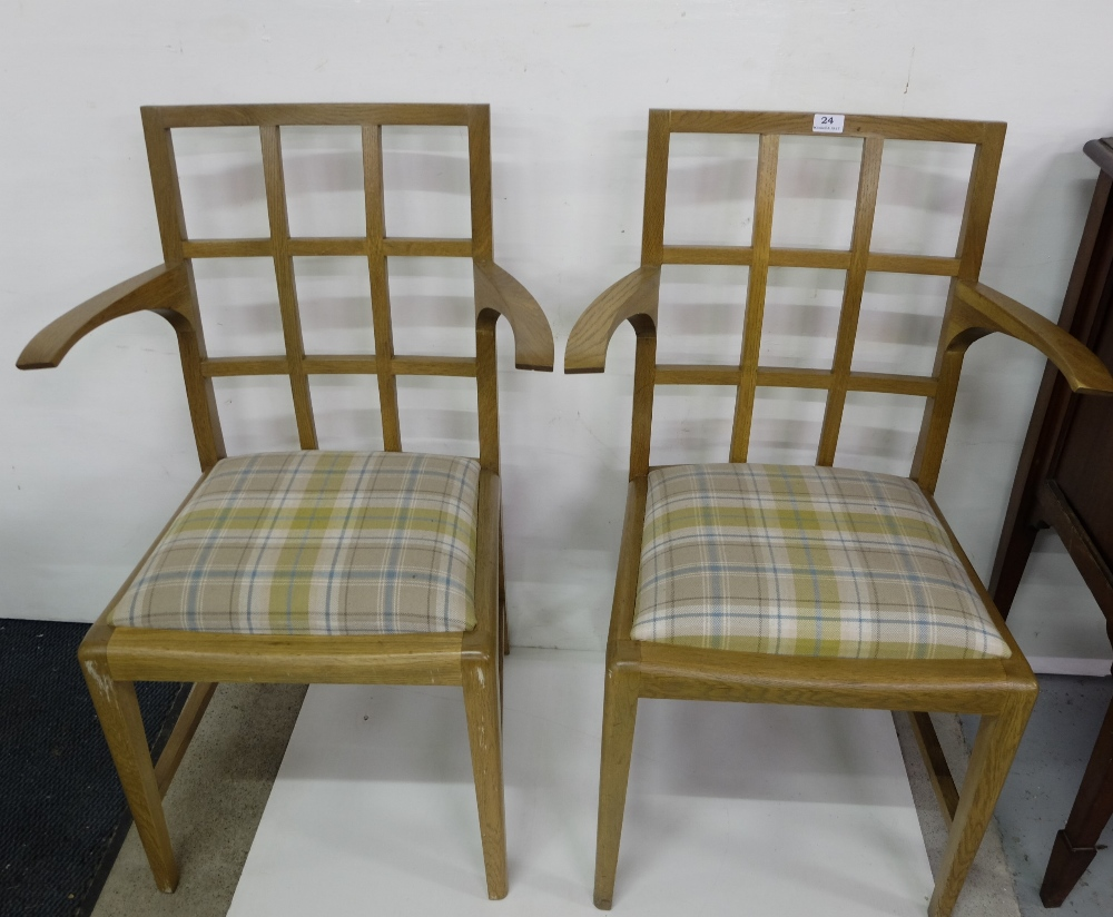 Lot 24 - Matching Pair of 4 Oak Armchairs, by Julian of Chichester, with removable padded seats covered