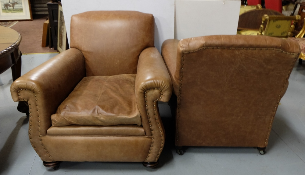 Lot 5 - Matching Pair of Victorian fine Brown brass studded and Leather Upholstered Armchairs, on castors (